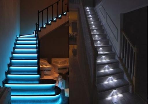 подсветка бетонной лестницы